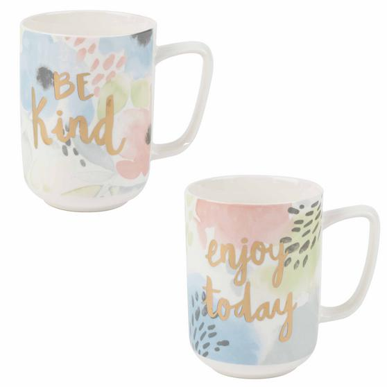 Portobello COMBO-2238 Esme and Tide Be Kind Enjoy Today Mugs, Set of 2, Pastel Colours