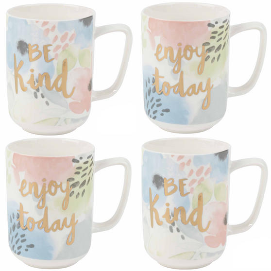Portobello Esme and Tide Be Kind Enjoy Today Mugs, Set of 4, Pastel Colours