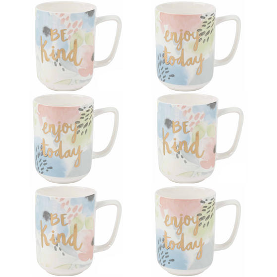 Portobello Esme and Tide Be Kind Enjoy Today Mugs, Set of 6, Pastel Colours