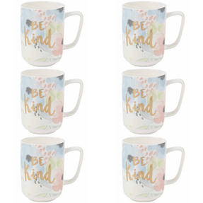 Portobello COMBO-2242 Esme Be Kind Devon Mugs, Set of 6, Pastel Colours Thumbnail 1