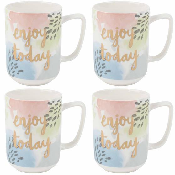 Portobello Tide Enjoy Today Devon Mugs, Set of 4, Pastel Colours