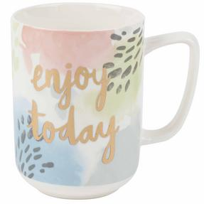 Portobello COMBO-2243 Tide Enjoy Today Devon Mugs, Set of 4, Pastel Colours