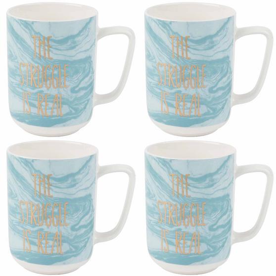 Portobello The Struggle Is Real Devon Mugs, Set of 4, Blue/White