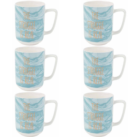 Portobello The Struggle Is Real Devon Mugs, Set of 6, Blue/White