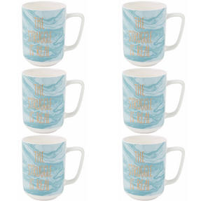 Portobello COMBO-2246 The Struggle Is Real Devon Mugs, Set of 6, Blue/White