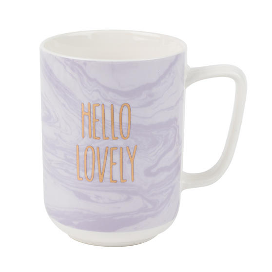 Portobello Hello Lovely Mugs, Set of 4, Purple/White