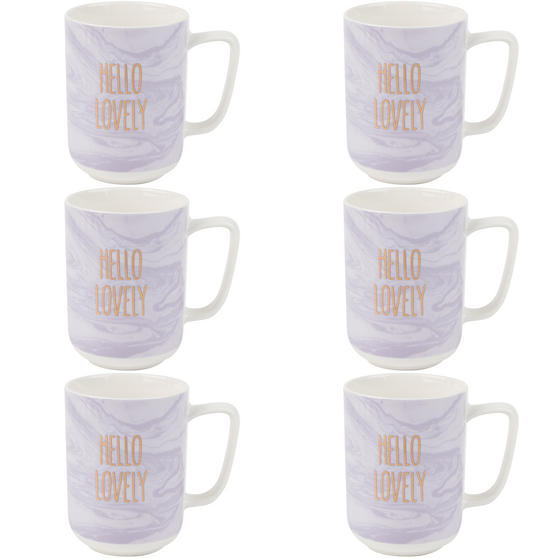 Portobello COMBO-2248 Hello Lovely Mugs, Set of 6, Purple/White