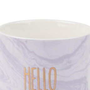 Portobello COMBO-2248 Hello Lovely Mugs, Set of 6, Purple/White Thumbnail 3