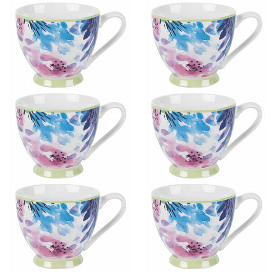 Portobello COMBO-2254 Adalyn Mint Sandringham NBC Floral Mugs, Set of 6