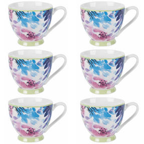 Portobello COMBO-2254 Adalyn Mint Sandringham NBC Floral Mugs, Set of 6 Thumbnail 1