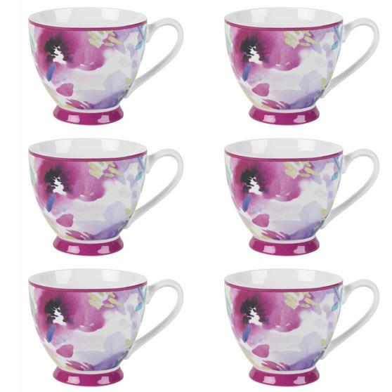 PortobelloFaye Pink Sandringham NBC Floral Mugs, Set of 6
