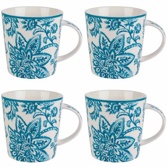 Cambridge Arrabella Teal Lincoln Mugs, Set of 4