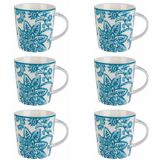 Cambridge Arrabella Teal Lincoln Mugs, Set of 6