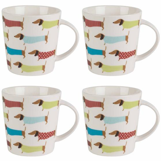 Cambridge Pop Dachshund Lincoln Mugs, Set of 4