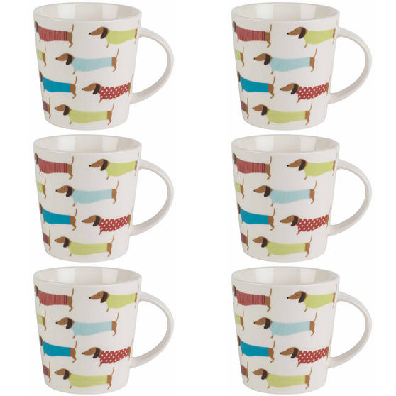 Cambridge Pop Dachshund Lincoln Mugs, Set of 6