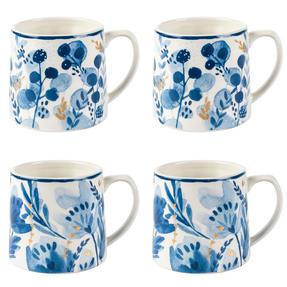 Portobello COMBO-2269 Dana and Irena Gold Tank Mugs, Set of 4, Blue and Gold Thumbnail 1