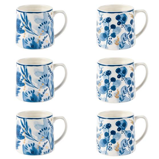 Portobello COMBO-2270 Dana and Irena Gold Tank Mugs, Set of 6, Blue/Gold