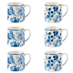 Portobello COMBO-2270 Dana and Irena Gold Tank Mugs, Set of 6, Blue/Gold Thumbnail 1