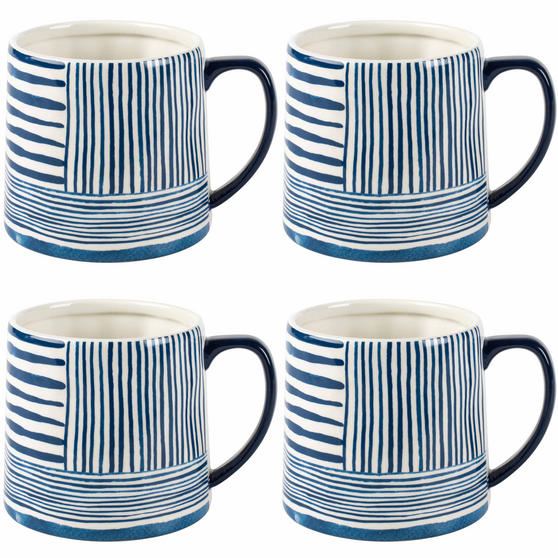 Portobello By Inspire COMBO-2271 Zambezi Tank Mugs, Set of 4. Blue and White