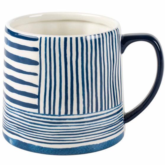 Portobello CM06060 Tank Zambezi Stoneware Mug, Blue/White, Set of Four