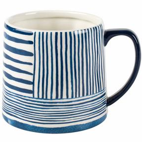 Portobello CM06060 Tank Zambezi Stoneware Mug, Blue/White, Set of Four