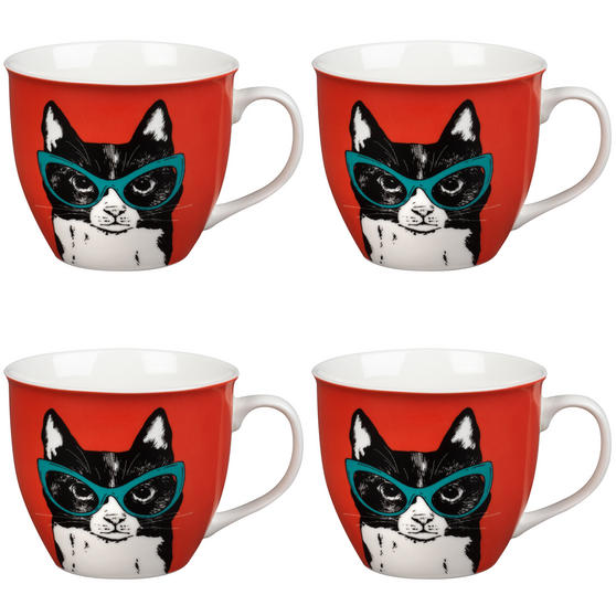 Oxford Cat in Glasses Pop Art Mug, Set of 4, Red