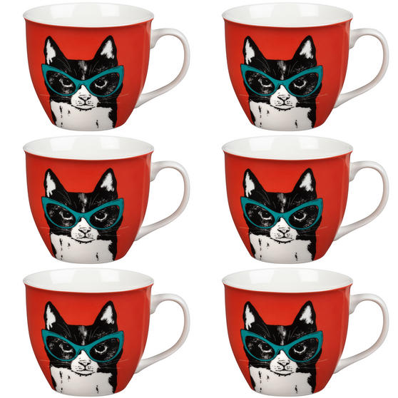 Oxford Cat in Glasses Pop Art Mug, Set of 6, Red