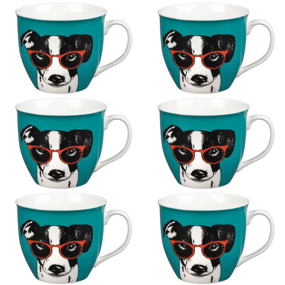 Oxford Dog in Glasses Pop Art Mug, Set of 6, Teal