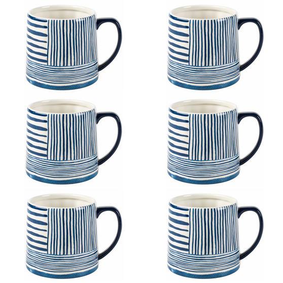 Portobello By Inspire COMBO-2276 Zambezi Tank Mugs, Set of 6, Blue and White