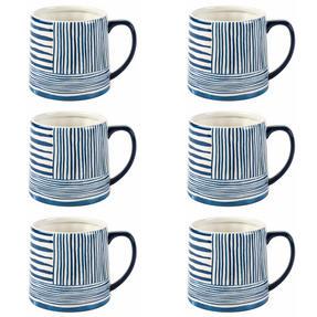 Portobello By Inspire COMBO-2276 Zambezi Tank Mugs, Set of 6, Blue and White Thumbnail 1