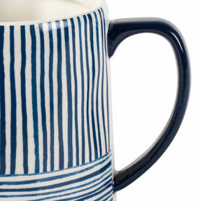 Portobello CM06060 Tank Zambezi Stoneware Mug, Blue/White, Set of Six Thumbnail 3