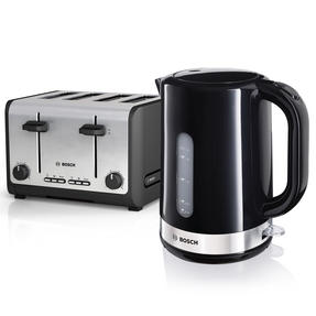 Bosch COMBO-2277 Saturn 1.7 Litre Kettle with Four Slice Toaster, SS / Black