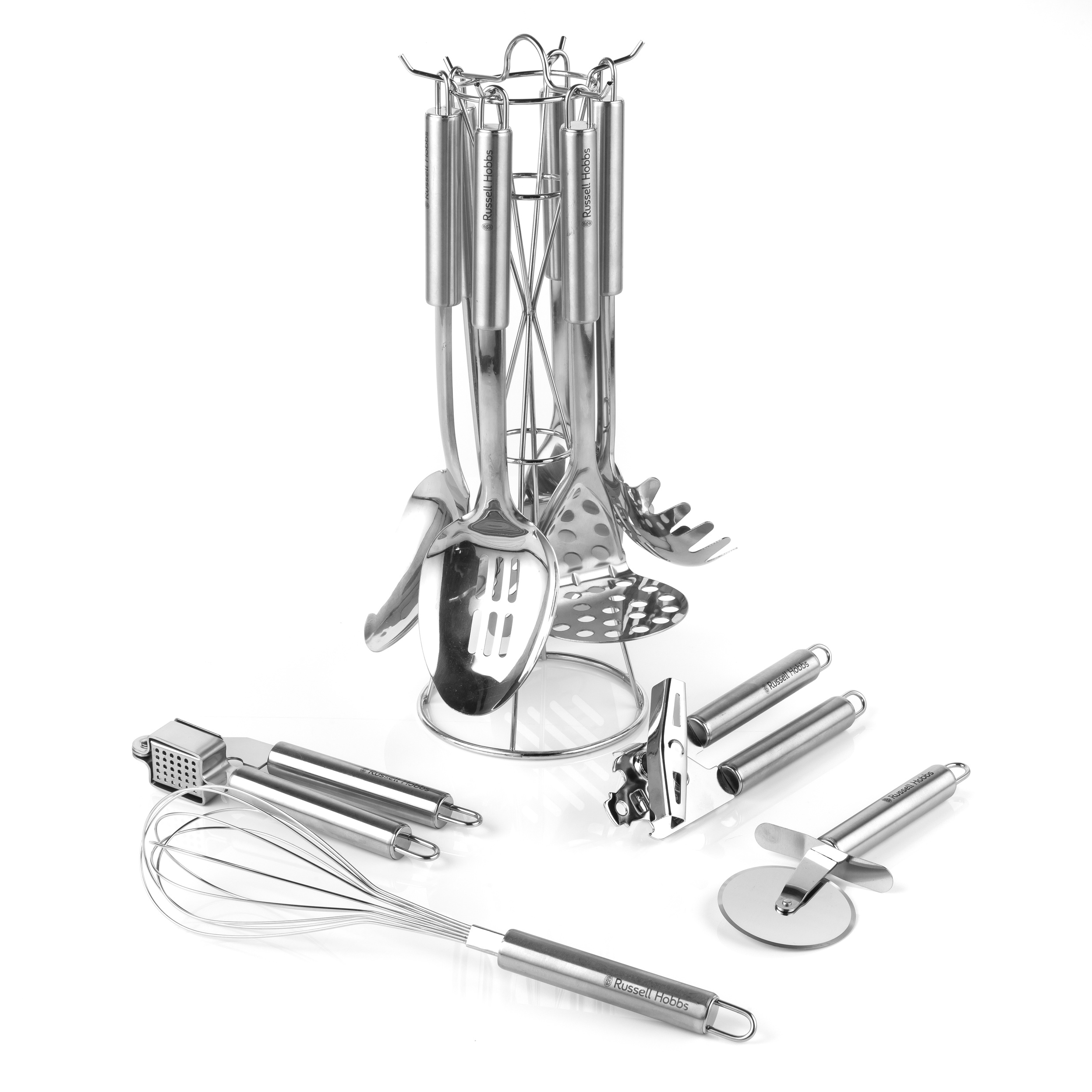 Russell Hobbs COMBO-2096 Stainless Steel Kitchen Utensil Set with Stand and  Kitchen Tool Set, 10 Piece