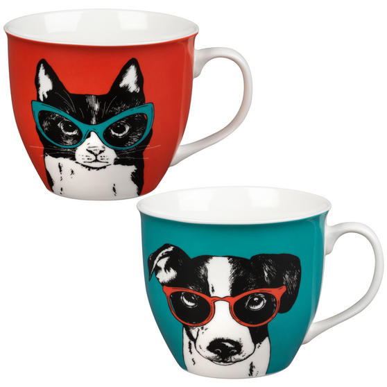 Oxford COMBO-2232 Dog and Cat In Glasses Mug Set, 2 Piece, Red / Teal