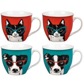 Oxford COMBO-2233 Dog and Cat In Glasses Mug Set, 4 Piece, Red / Teal Thumbnail 1