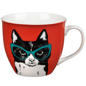 Oxford COMBO-2233 Dog and Cat In Glasses Mug Set, 4 Piece, Red / Teal Thumbnail 2