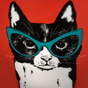 Oxford COMBO-2233 Dog and Cat In Glasses Mug Set, 4 Piece, Red / Teal Thumbnail 8