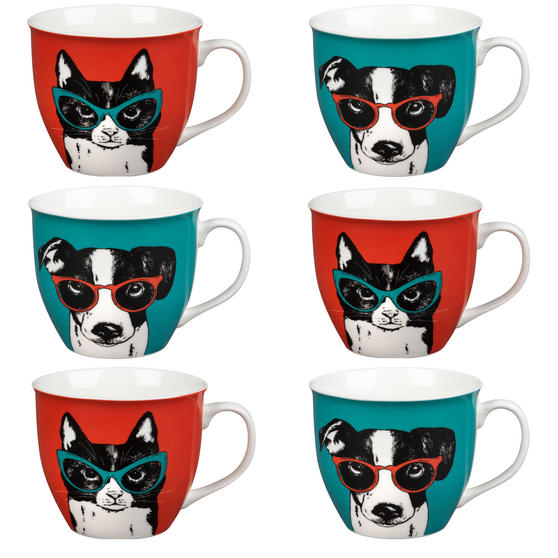 Oxford COMBO-2234 Dog and Cat In Glasses Mug Set, 6 Piece, Red / Teal
