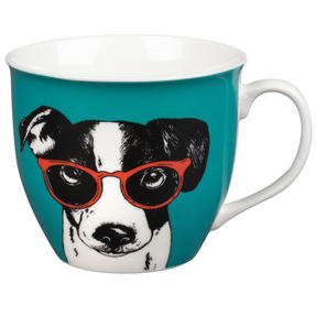 Oxford COMBO-2234 Dog and Cat In Glasses Mug Set, 6 Piece, Red / Teal Thumbnail 3