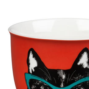 Oxford COMBO-2234 Dog and Cat In Glasses Mug Set, 6 Piece, Red / Teal Thumbnail 4