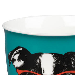 Oxford COMBO-2234 Dog and Cat In Glasses Mug Set, 6 Piece, Red / Teal Thumbnail 5