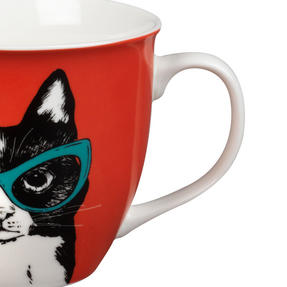 Oxford COMBO-2234 Dog and Cat In Glasses Mug Set, 6 Piece, Red / Teal Thumbnail 6