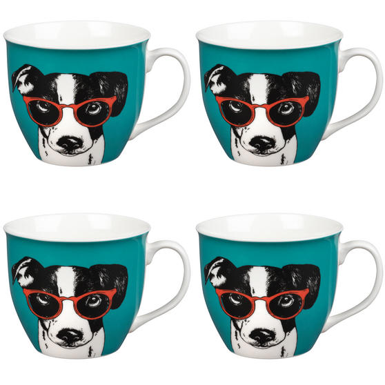 Oxford Dog in Glasses Pop Art Mug, Set of 4, Teal