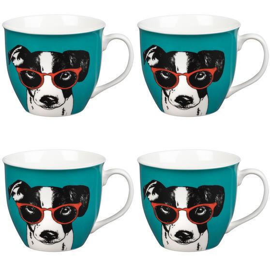 Oxford Dog in Glasses Pop Art Mug, Set of 4, Teal