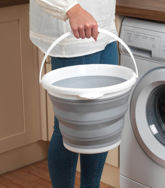 Beldray Set of 2 Collapsible Buckets, 10 Litre, Grey Thumbnail 3