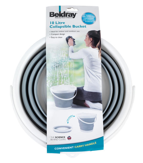 Beldray Set of 2 Collapsible Buckets, 10 Litre, Grey Thumbnail 6