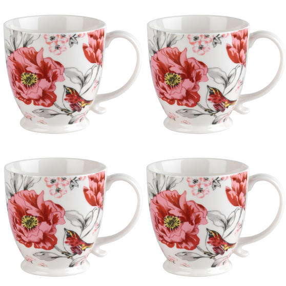 Cambridge COMBO-3042 Kensington Olivia Bright Fine China Mug, Set of 4