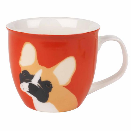 Cambridge COMBO-3046 Oxford Puppy Pal Bulldog Fine China Mug, Set of Four