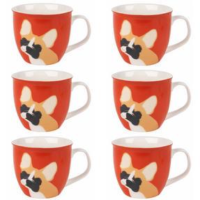 Cambridge COMBO-3047 Oxford Puppy Pal Bulldog Fine China Mug, Set of Six