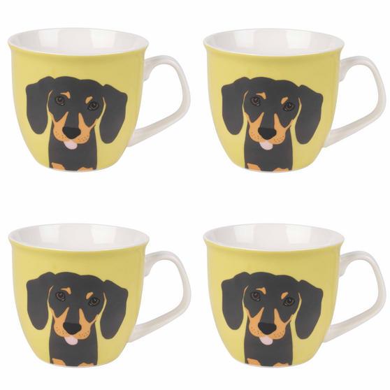 Cambridge Oxford Puppy Pal Daschund Fine China Mug, Set of 4